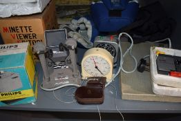 A selection of photographic and cine equipment including Minette viewer editor, Philips slide