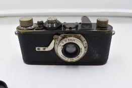 A Leica 1A camera with fixed Leitz Elmar 1;3,5 f=50mm lens Circa 1928. Serial No 12999