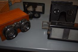 Four stereo slide viewers including Le Glyphoscope by J Richard of Paris and a mahogany cased,