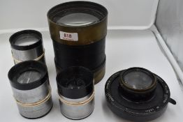Five projection lenses including three Beck of London, an Aldis Anistigmat 18.5 inch and a Hunter-