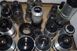 Twenty Four Various projector lenses including Wray, Dallmeyer, Taylor Hobson, Victor etc