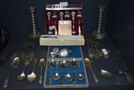 A selection of table wares and cutlery including Caddy spoon marked sterling and similar HM silver