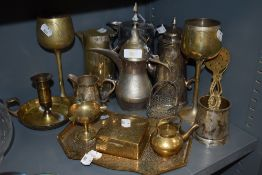 A selection of plated and brass wares including chocolate pot and chamber stick