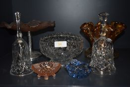 A selection of pressed and colour glass wares including pink footed tazza