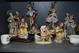 A selection of figures and figurines including Capodemonte and similar