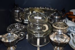 A selection of plated serving items including part tea set and Phoenix ware
