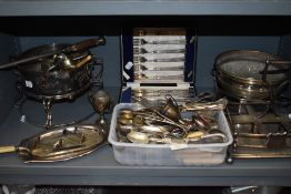 A selection of table and serving items including cutlery and cased Walker and Hall canteen