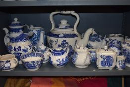 A selection of blue and white wear ceramics including Empire wear oversized tea pot Burley wear