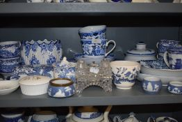 A selection of blue and white wear ceramics including Wedgwood Ice Rose and Seaforth