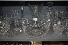 A selection of clear cut and crystal glass wares including fruit bowl and footed tazza