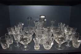 A selection of clear cut and crystal glass wares including Stuart footed bowls and tumblers