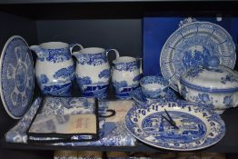 A selection of blue and white wear ceramics including graduated Spode jugs having black back stamp