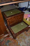 A Victorian mahogany library step, with later leather insets and integral drawer