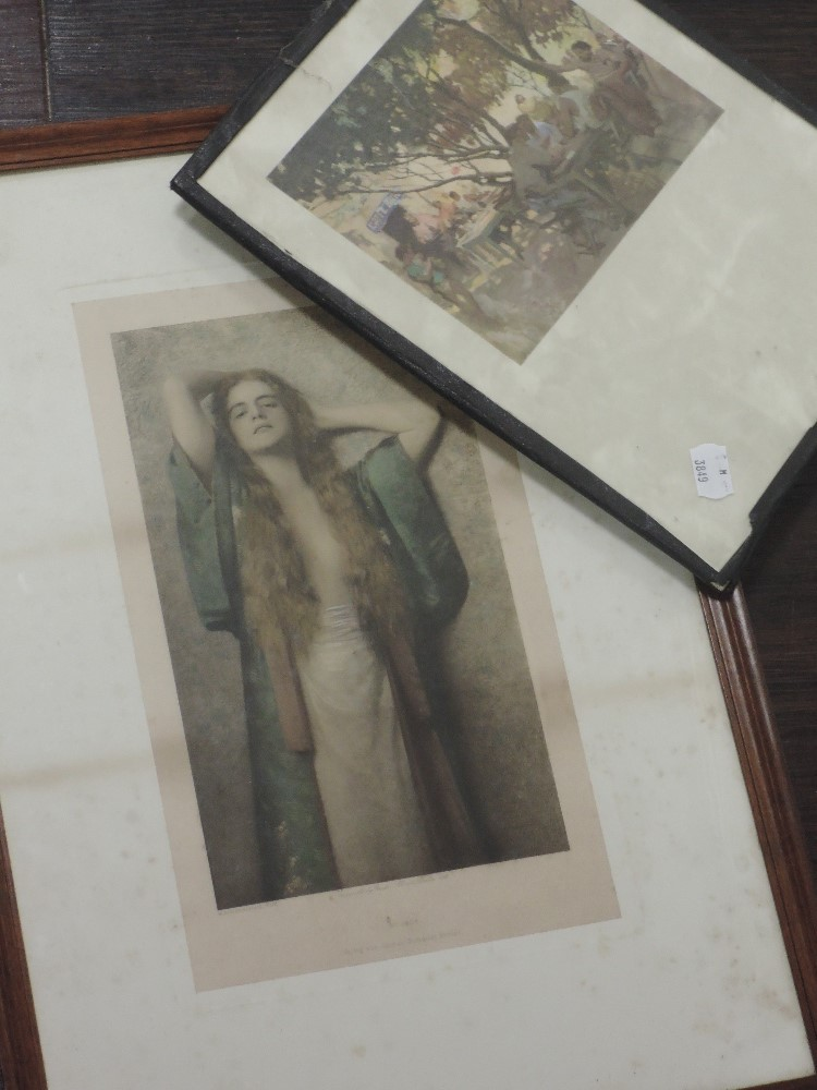 A print, after Max Nonnenbruch, kimono frau, Gustav Schauer, 30 x 17cm, framed and glazed, and a