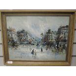 An oil painting, R Davey, impressionist street scene, 31 x 41cm, framed