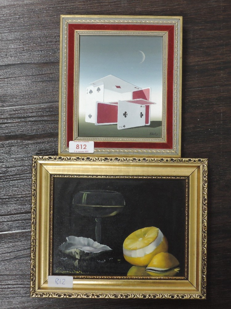 An oil painting on board, N Black, deck of cards, signed, 15 x 12cm, framed , and an oil painting on