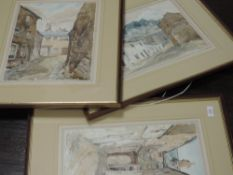 A pair of watercolours, Mary Johnson, street scenes possibly Kendal, 36 x 26cm, framed and glazed,
