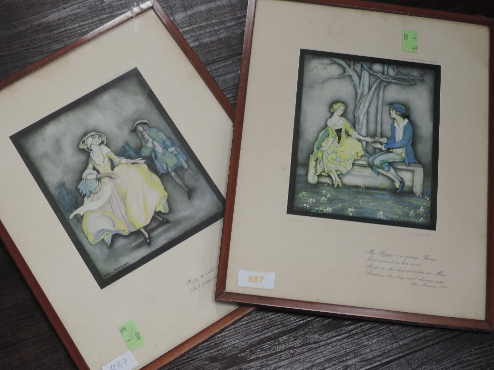 A pair of prints, after Jennie Harbour, My Peggy, 28 x 17cm, framed and glazed