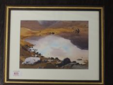 A watercolour, Vivienne Pooley, Reflections in Easedale Tarn, signed and attributed verso, 16 x