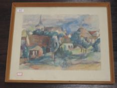 A print, in the style of Buffet, French landscape, 30 x 40cm, framed and glazed