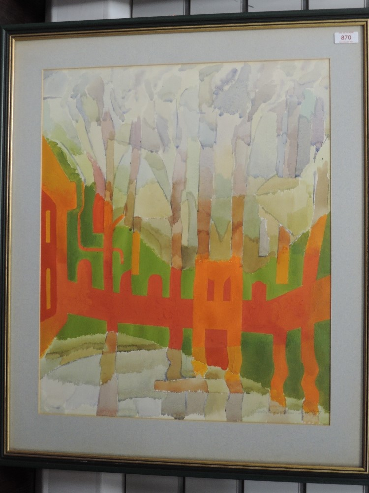 A watercolour, Derek Dalton, stylised trees, signed and dated (19)67, 55 x 45cm, framed and glazed