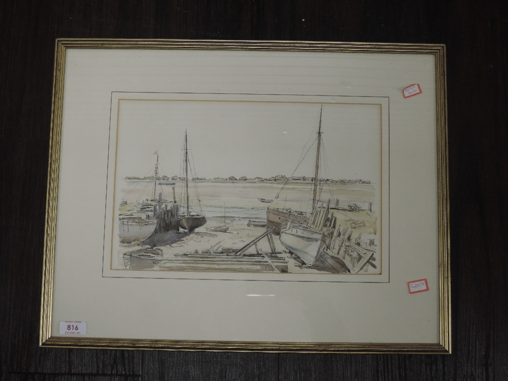 A watercolour, harbour scene, 23 x 36cm, framed and glazed