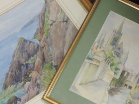 A watercolour, W Downs, townscape, signed, 27 x 19cm, framed and glazed, and a watercolour,