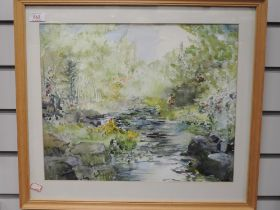 A watercolour, river landscape, 35 x 42cm, framed and glazed