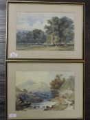 A pair of watercolours, landscapes, 20 x 29cm, framed