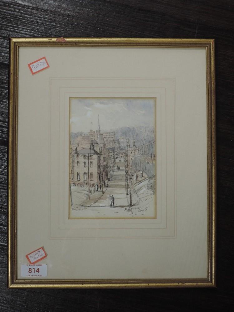 A watercolour, WRB, Fareham Castle, monogrammed, 16 x 12cm, framed and glazed