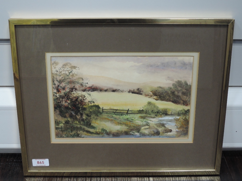 A watercolour, K Lund, Stream by Coniston, signed and attributed verso, 18 x 28cm, framed and