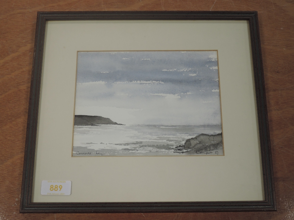 A watercolour, Campbell, Coswell Bay, indistinctly signed and dated (19)87, 14 x 18cm, framed and