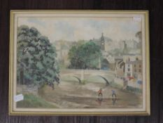 A watercolour, H W Speight, Kendal townscape, signed and dated, 1963, 23 x 32cm, framed and glazed