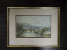 A watercolour, river landscape, 19th century, 22 x 34cm, framed and glazed