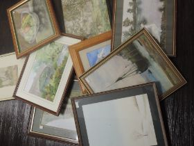 A selection of pictures, inc a watercolour, farmstead and sheep, 24 x 34cm, framed and glazed, and a