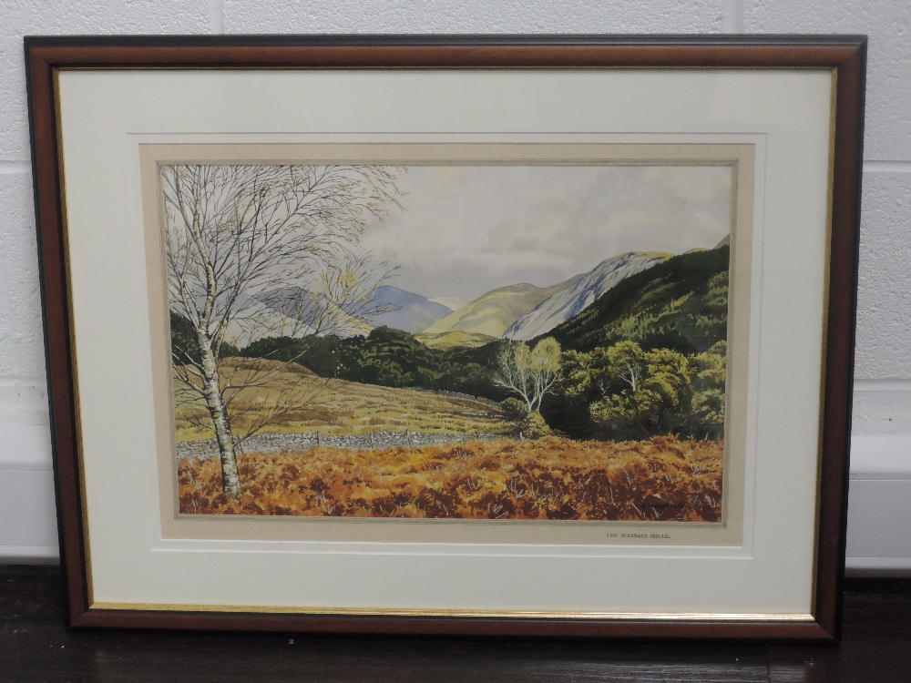 A watercolour J Ingham Riley, The Wasdale Hills, 33 x 50cm, framed and glazed