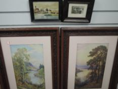 A pair of prints, Spring Time Borrowdale, and Evening Derwentwater 1932, framed and glazed, a print,