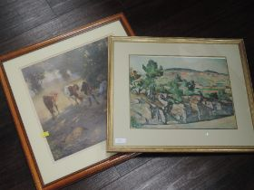 A print, after Arnesby Brown, Full Summer, 40 x 38cm, framed and glazed, and a print style of