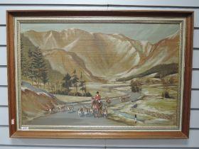 An oil painting, Chandos, mountain hunt, 50 x 754cm, framed