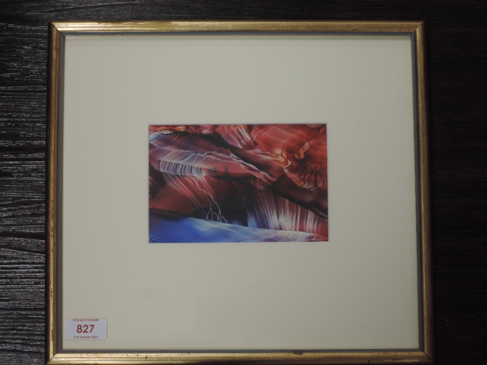 A wax picture, Tiana Marie, Fire and Brimstone, signed, attributed verso, 10 x 15cm, framed and