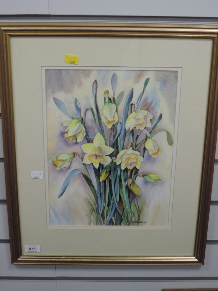 A watercolour, F M Nicholson, daffodils, 35 x 26cm, framed and glazed