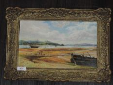 An oil painting on board, JW, estuary landscape, monogrammed, and dated 1880, 20 x 33cm, framed