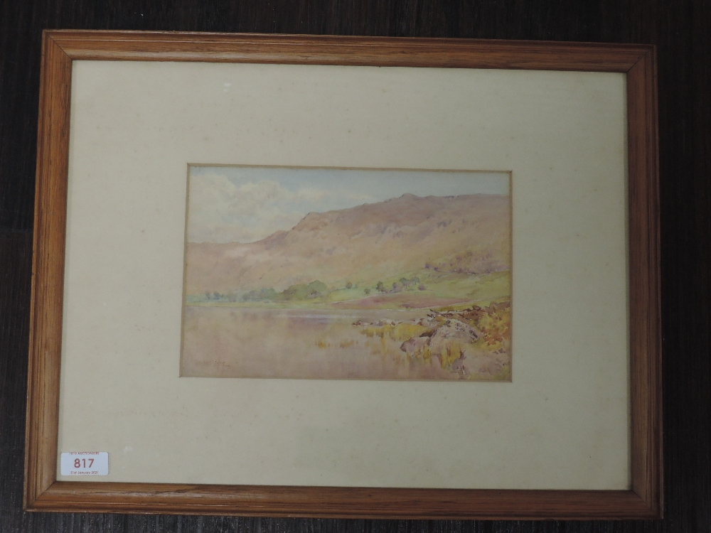 A watercolour, Cuthbert Rigby, Blea Tarn, Langdale, signed and attributed verso, 16 x 24cm, framed