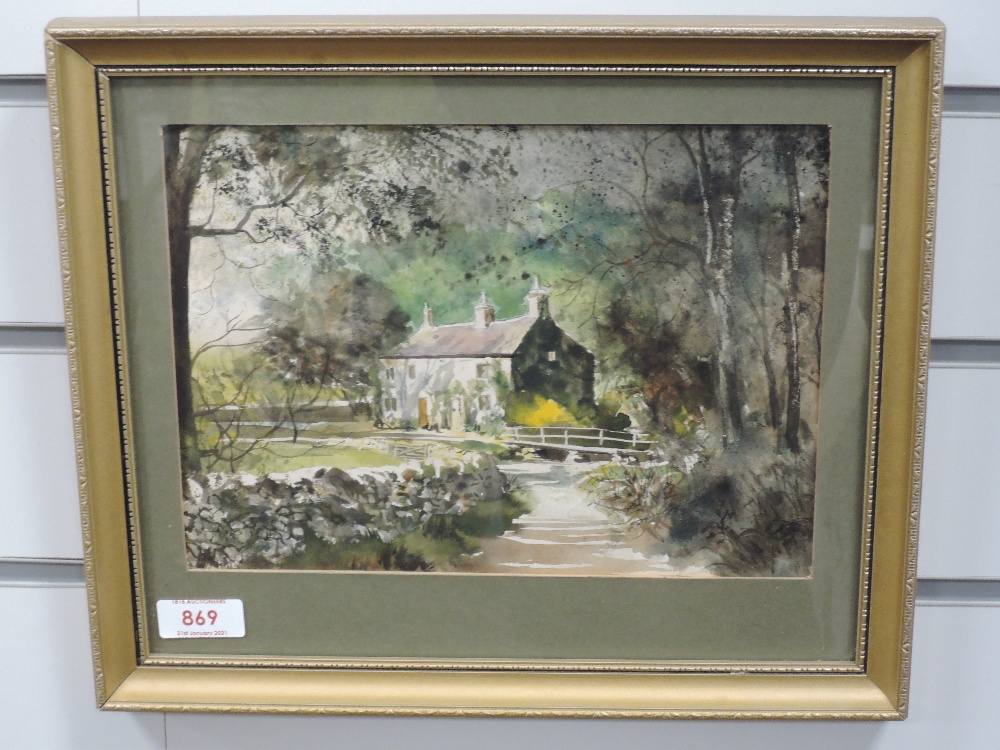 A watercolour, K Lund, Cromwells Cottage Malham, attributed verso, 18 x 25cm, framed and glazed