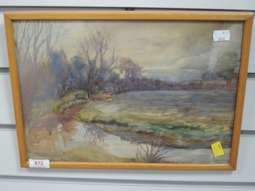 A watercolour, John Barron Daniell, river landscape, early 20th, 24 x 34cm, framed and glazed