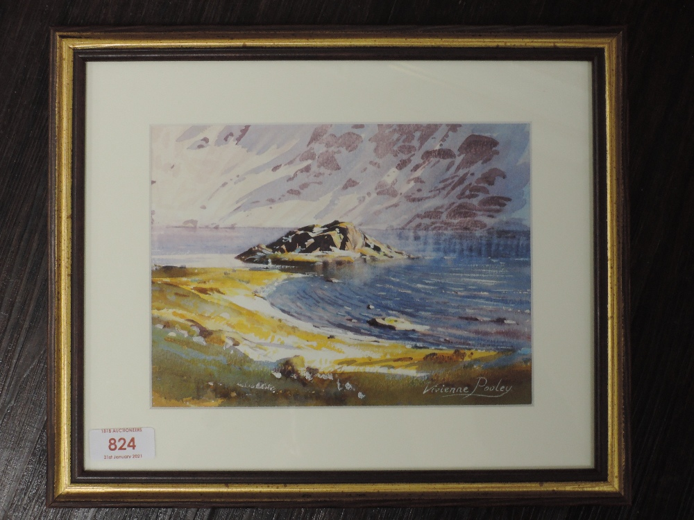 A watercolour, Vivienne Pooley, Red Tarn Helvellyn, signed and attributed verso, 15 x 21cm, framed