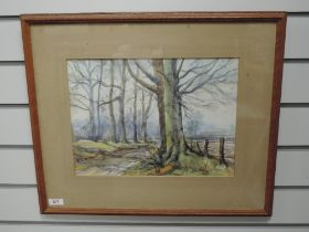 A watercolour, Wheeler, woodland track, signed, 27 x 37cm, framed and glazed
