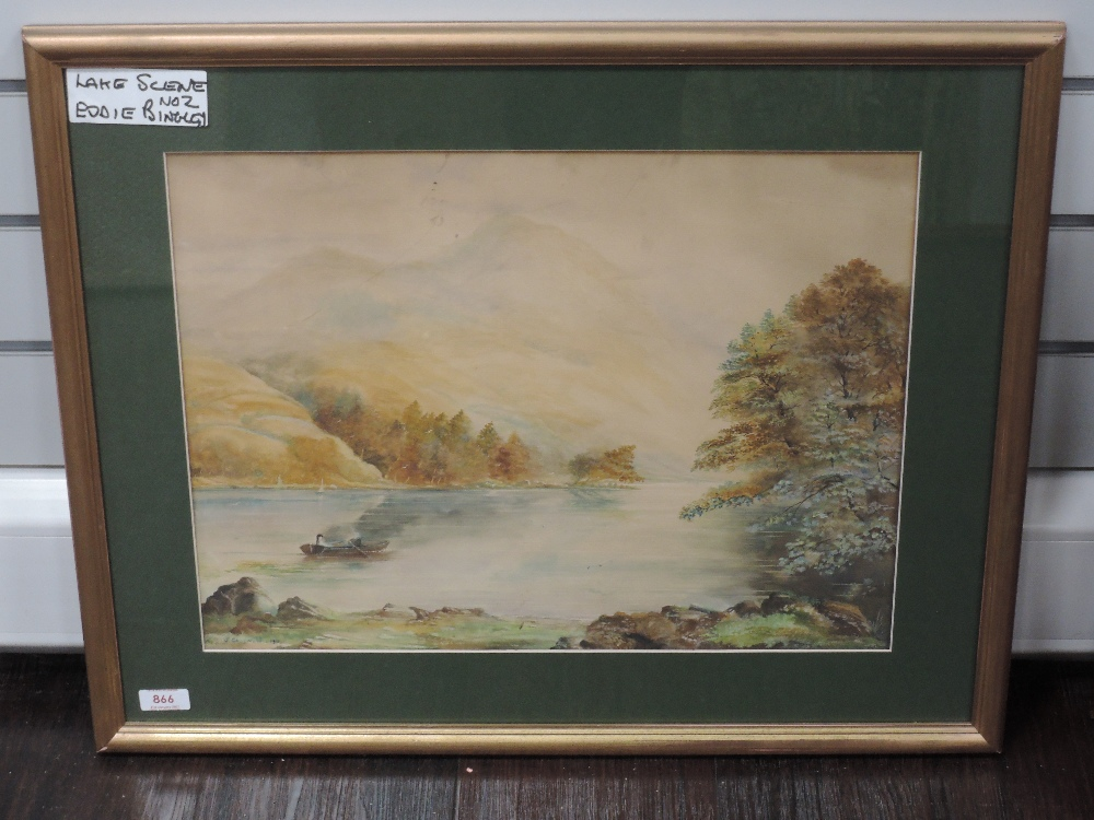 A watercolour, J Crosswell, Lake Scene, signed and dated 1913, 36 x 48cm, framed and glazed