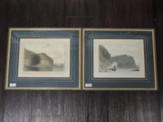 A pair of engravings, after William Daniell, Northern face of the Shiant Isles, and Entrance to