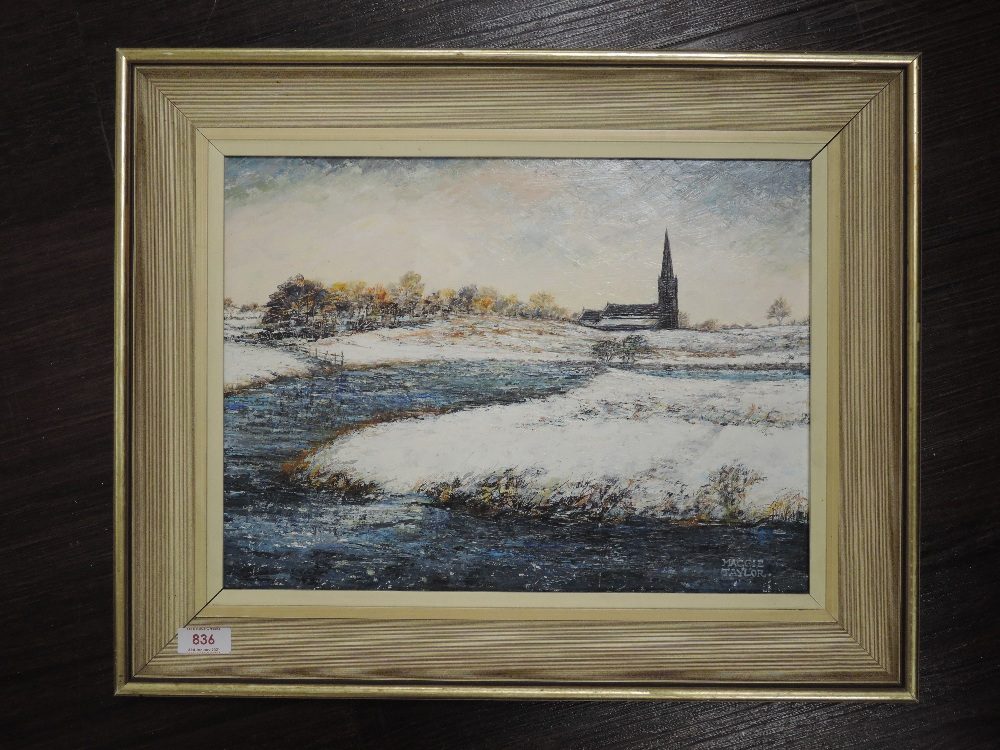 An oil painting on board, Maggie Taylor, The Blue Lagoon Belmont, signed and attributed verso, 29
